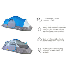 Load image into Gallery viewer, Outbound 12-Person 3-Season Lightweight Dome Tent with Carry Bag and Rainfly - Gray/Blue
