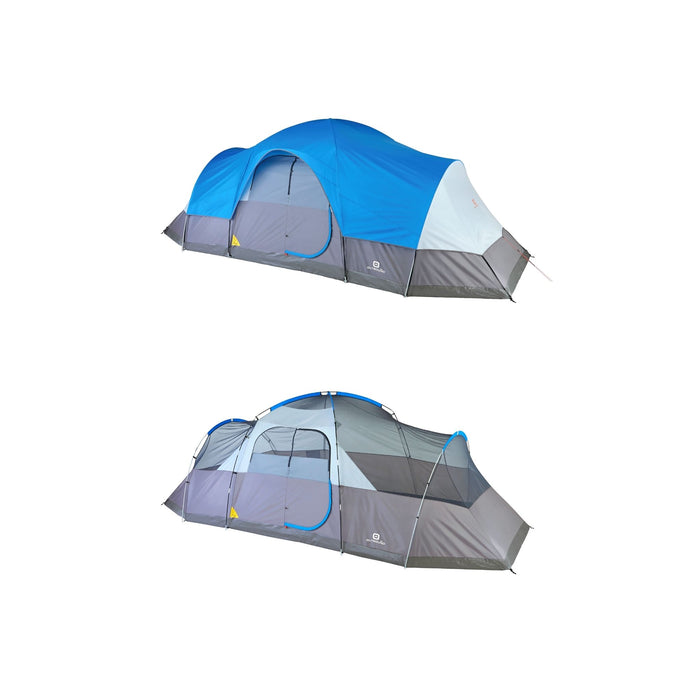 Outbound 12-Person 3-Season Lightweight Dome Tent with Carry Bag and Rainfly - Gray/Blue