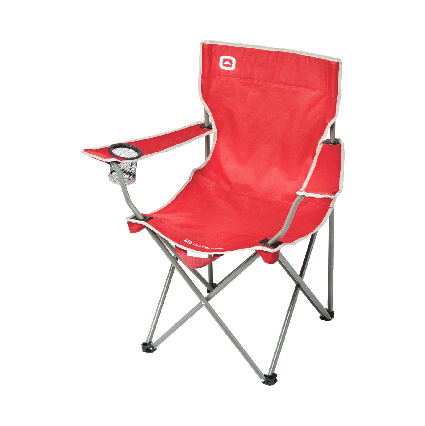 Outbound Portable Folding Quad Camping Chair with Cup Holder - Red