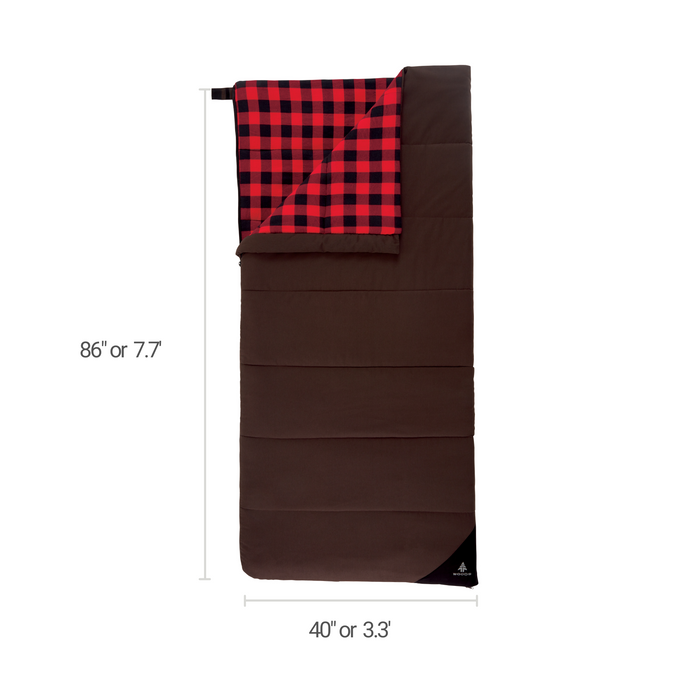 Woods Heritage Cotton Flannel Camping Sleeping Bag: 32 Degree - Brown