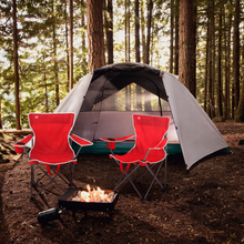 Load image into Gallery viewer, Outbound Portable Folding Quad Camping Chair with Cup Holder - Red