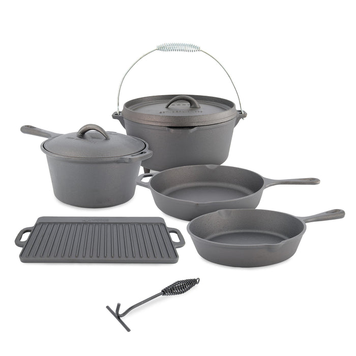 Woods Heritage Cast Iron Camping Cook Set with Crate - 8 Pieces