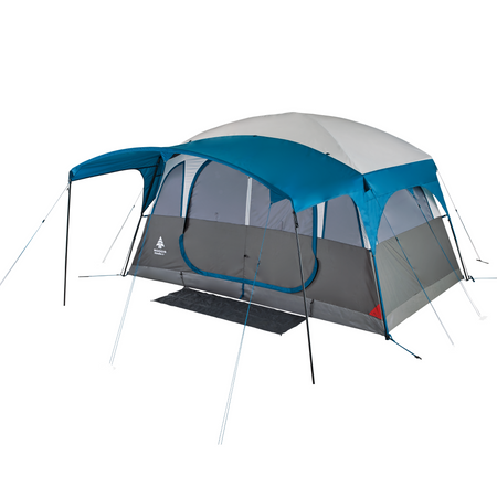 key features Woods Klondike 6-Person 4-Season Cabin Tent with Full Front Canopy