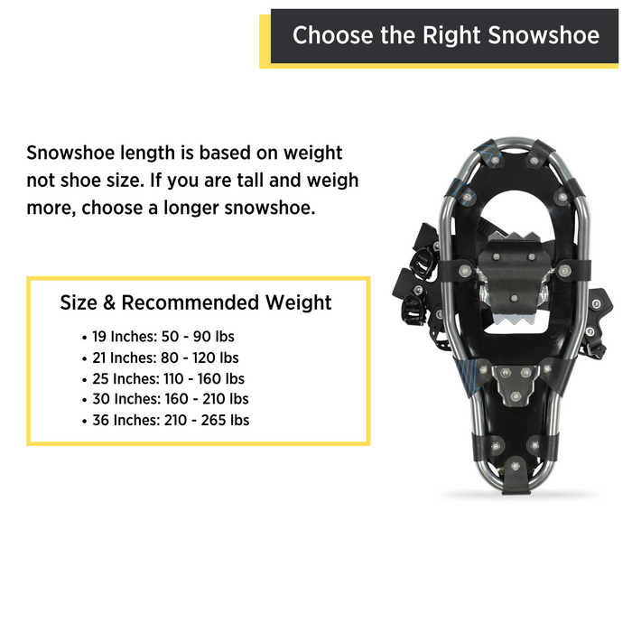 Outbound Lightweight Aluminum Frame Snowshoe Bundle, 36 Inch, 265 lb Capacity, with Adjustable Poles and Carry Bag