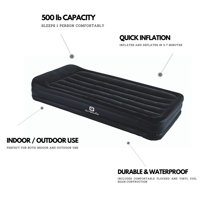 Outbound Double-High Twin Air Mattress with Built-in Pillow FEATURES
