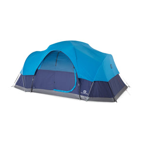 Outbound 8-Person 3-Season Lightweight Dome Tent with Carry Bag and Rainfly – Light & Navy Blue