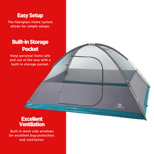 Load image into Gallery viewer, Outbound Cache 8-Person 3-Season Black-Out Dome Tent with Carry Bag and Rainfly - MAIN FEATURES