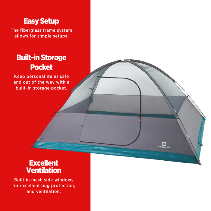 Outbound Cache 8-Person 3-Season Black-Out Dome Tent with Carry Bag and Rainfly - MAIN FEATURES