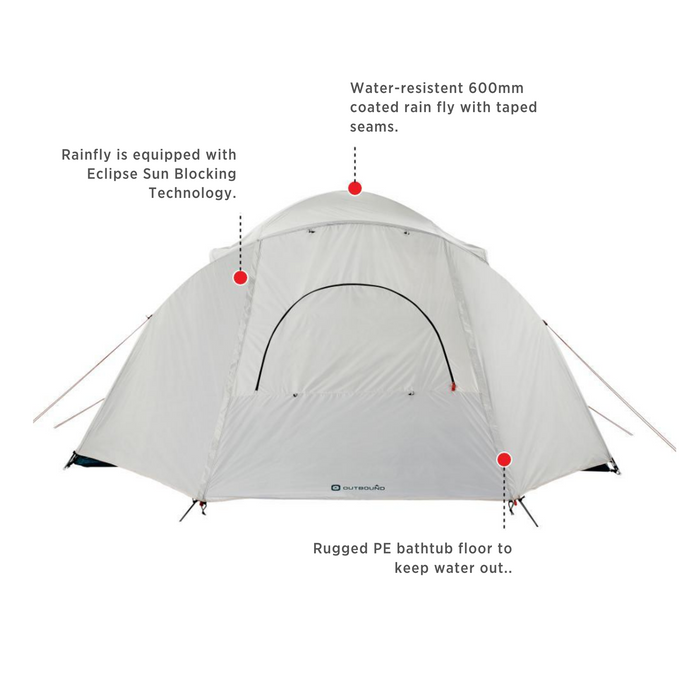 Outbound Cache 8-Person 3-Season Black-Out Dome Tent with Carry Bag and Rainfly - FEATURES