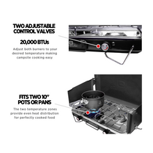 Load image into Gallery viewer, Outbound Portable Propane Gas Camping Stove with 2 Burners - Black