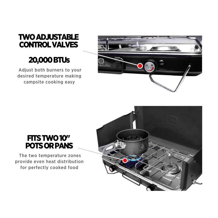 Outbound Portable Propane Gas Camping Stove with 2 Burners - Black