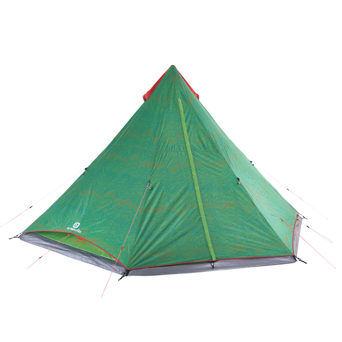 Outbound 6-Person 2-Season Teepee Tent with Carry Bag and Rainfly - Green FLY