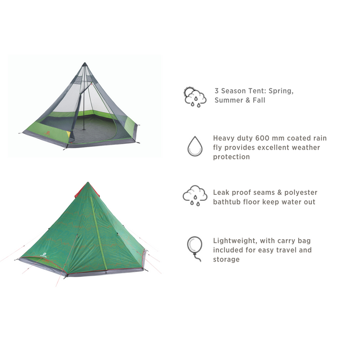 Outbound 6-Person 2-Season Teepee Tent with Carry Bag and Rainfly - Green FEATURES