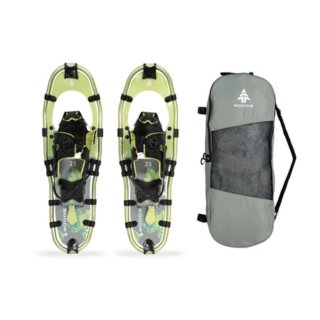 key features Woods Balsam All-Terrain Lightweight Aluminum Frame Snowshoes with Heel Lift 25 Inch, 200 lb Capacity, with Carry Bag