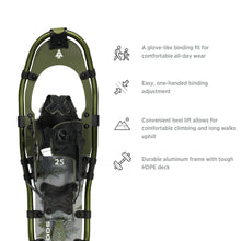 Load image into Gallery viewer, Woods Sycamore All-Terrain Lightweight Aluminum Frame Snowshoes with Heel Lift 30 Inch, 250 lb Capacity, with Carry Bag
