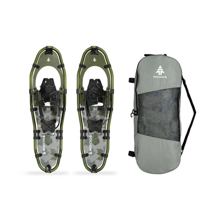 key features Woods Sycamore All-Terrain Lightweight Aluminum Frame Snowshoes with Heel Lift 30 Inch, 250 lb Capacity, with Carry Bag