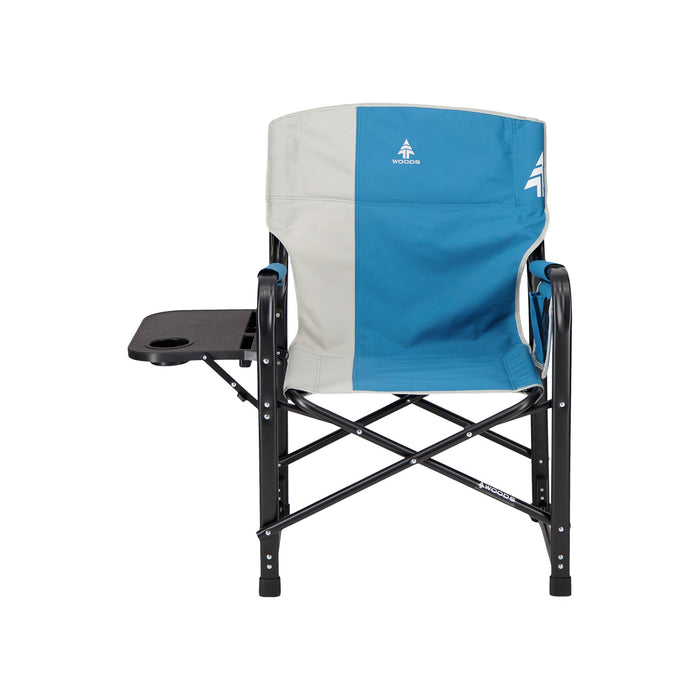 Woods Folding Directors Camping Chair With Table - Blue Coral