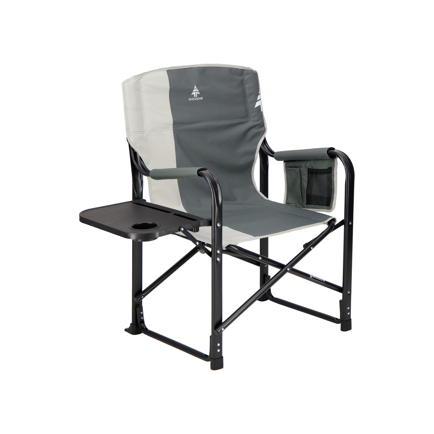 Woods Folding Directors Camping Chair With Table - Gun Metal