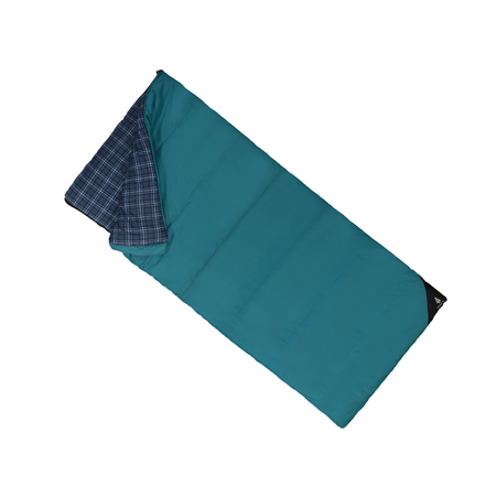 key features Woods Heritage Cotton Flannel Camping Cold Weather Sleeping Bag: 5 Degree - Blue