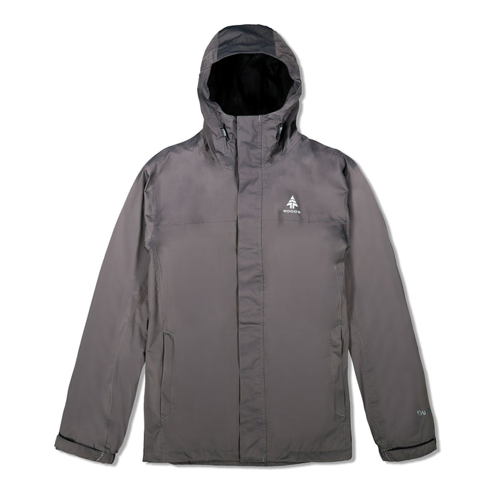 Woods Men's Toba Water-Resistant 2-Layer Shell Hooded Rain Jacket - Gray
