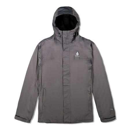 key features Woods Men's Toba Water-Resistant 2-Layer Shell Hooded Rain Jacket - Gray