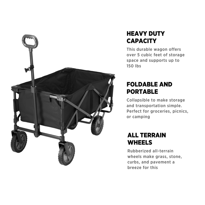 Woods Outdoor Collapsible Utility Standard Wagon - 150 lb Capacity - Black