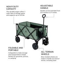 Load image into Gallery viewer, Woods Outdoor Collapsible Utility King Wagon - 225 lb Capacity - Sea Spray