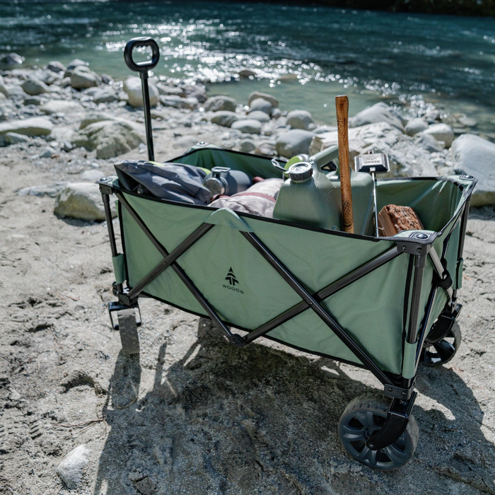 Woods Outdoor Collapsible Utility King Wagon - 225 lb Capacity - Seafoam by the lake