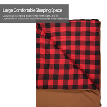 Load image into Gallery viewer, Woods Heritage Cotton Flannel Camping Cold Weather Sleeping Bag: 5 Degree - Tan