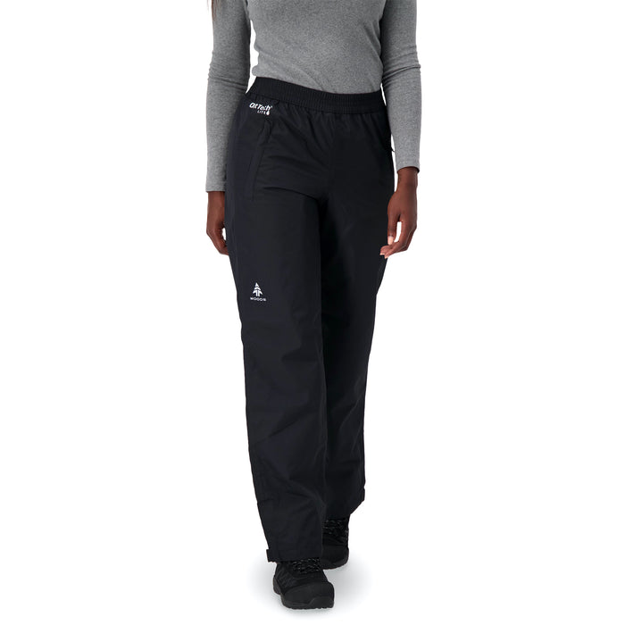 Woods Women's Kerr Water-Resistant Lightweight Packable Rain Pant - Black