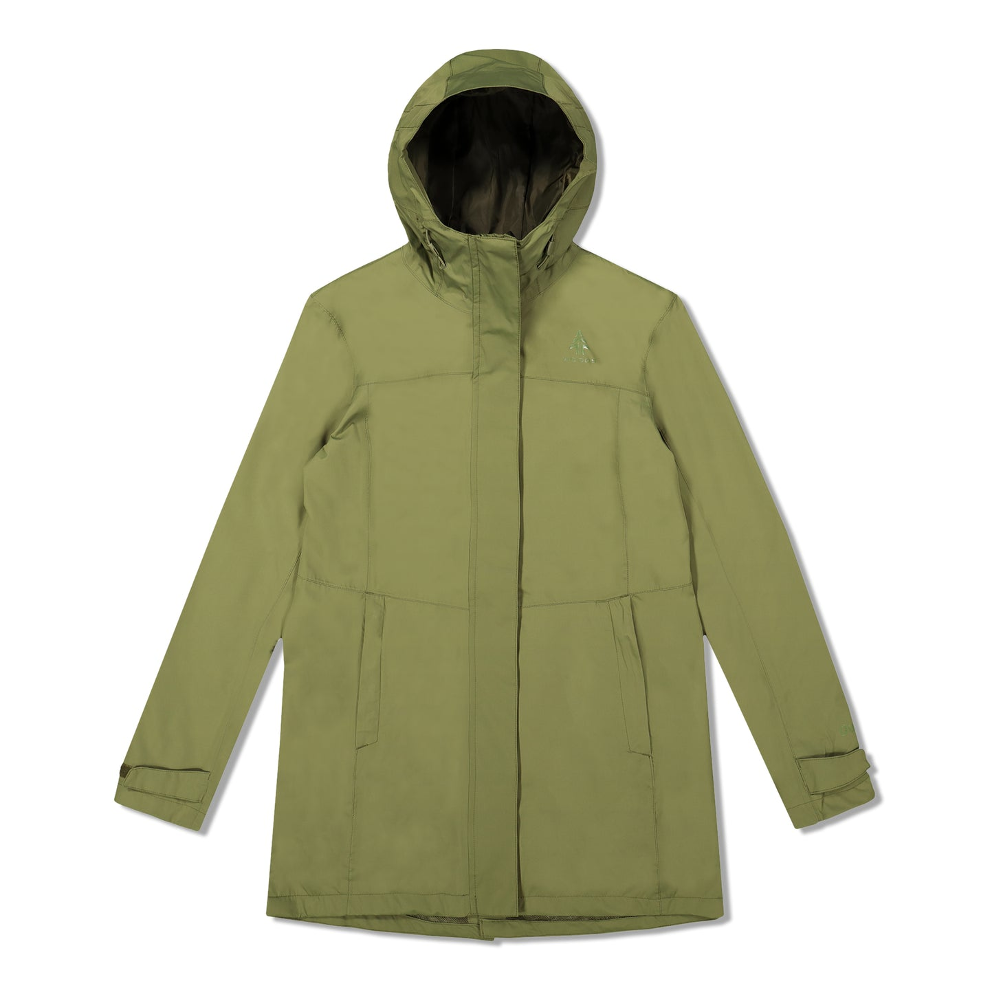 Woods Women's Monolith Water-Resistant 2-Layer Mid-Length Jacket - Green