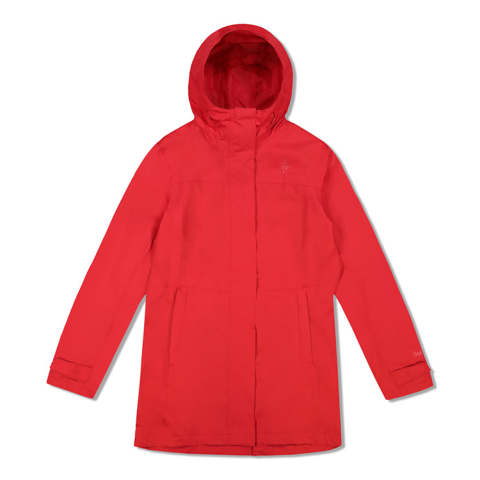 Woods Women's Monolith Water-Resistant 2-Layer Mid-Length Jacket - Red