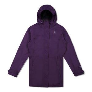 Woods Women's Monolith Water-Resistant 2-Layer Mid-Length Jacket - Violet