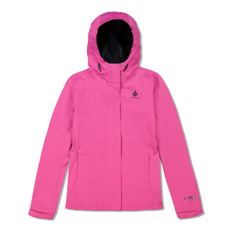 key features Woods Women's Toba Water-Resistant 2-Layer Shell Hooded Rain Jacket - Fuchsia