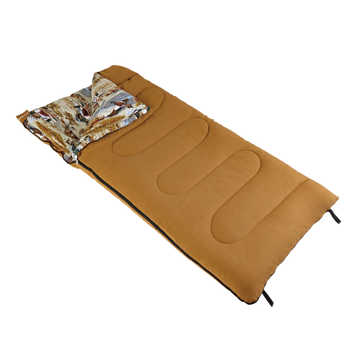 Woods Duck Pattern Cotton Flannel Camping Sleeping Bag: 5 Degree