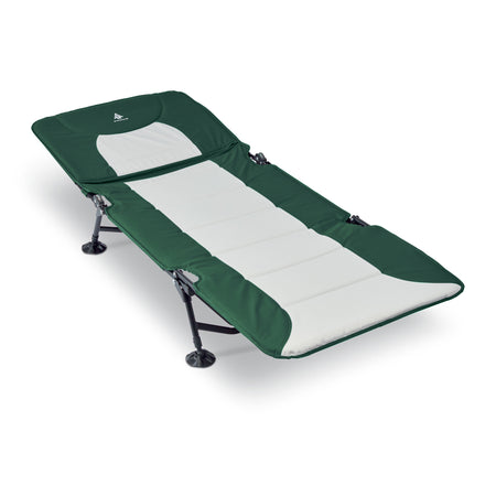 key features Woods Portable Quick Set-up Folding Adjustable 2-in-1 Camping Lounger/Cot - Green