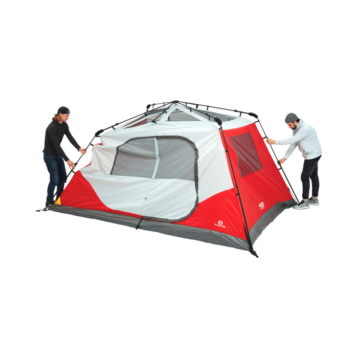 Outbound 8-Person 3-Season Instant Pop-Up Cabin Tent with Carry Bag and Rainfly - Red