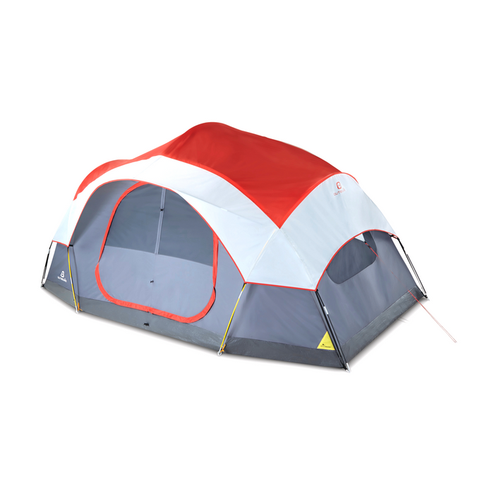Outbound 8-Person 3-Season 2-Room Lightweight Dome Tent with Carry Bag and Rainfly – Red
