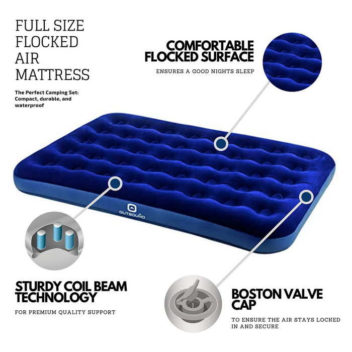 Outbound Double Lightweight Portable Flocked Air Mattress