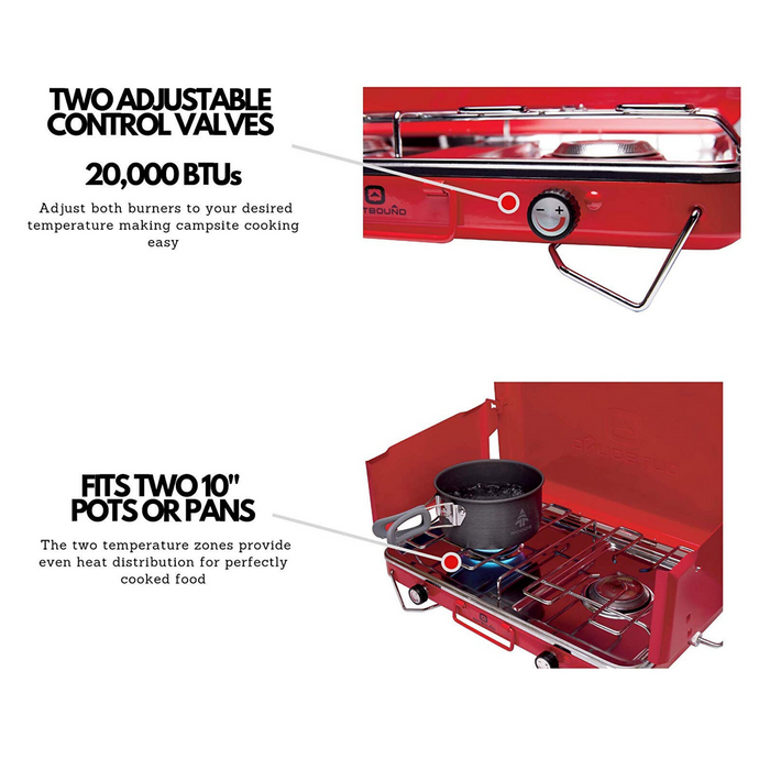 Outbound Portable Propane Gas Camping Stove with 2 Burners - Red