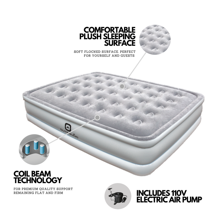 Outbound Queen Comfort Flocked Double-High Premium Air Mattress / Airbed with 110V Electric Pump