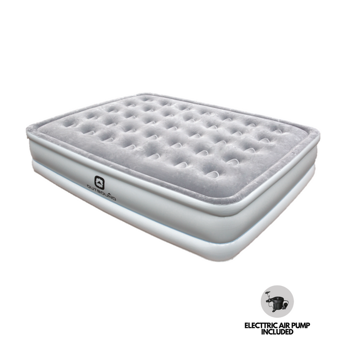 Outbound Queen Premium Comfort Flocked Double-High Air Mattress / Airbed with Built-In 110V Electric Air Pump