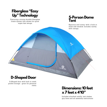 Load image into Gallery viewer, Outbound Six-Piece Combo Camping Set with 5-Person 3-Season Lightweight Dome Tent, 2 Sleeping Bags, 2 Chairs, Cooler and Rainfly - Blue