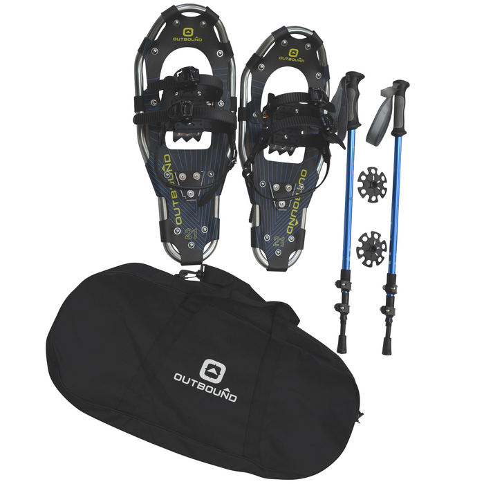 Outbound Snowshoe Kit with 21 Inch, 150 lbs Capacity, Lightweight Aluminum Snowshoes, Adjustable Poles and Carry Bag