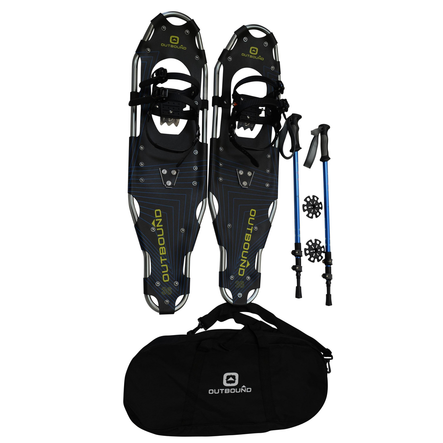 outbound snowshoes bundle 36-inch-260-lb-capacity-with-adjustable-poles-and-carry bag