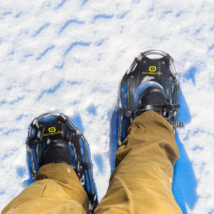 Outbound snowshoes on the snow