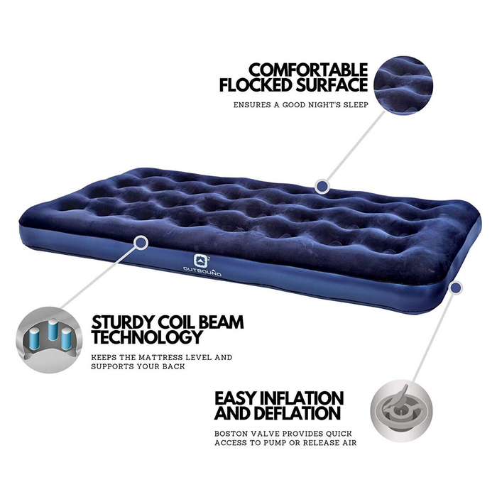 Outbound Twin Lightweight Portable Flocked Air Mattress