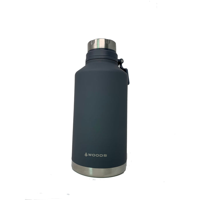 Woods 64 oz Growler / Tumbler Vacuum Insulated Stainless Steel Water Bottle Gray