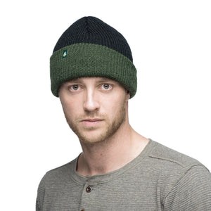 Woods Classic Hunter Toque Cuffed Knit Winter Hat - Black/Green