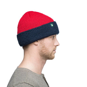 Woods Classic Hunter Toque Cuffed Knit Winter Hat -Red/Navy